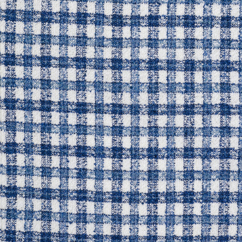 "ISAIA ""Base S"" Handmade Blue Plaid Cotton-Wool-Linen Boucle Jacket 50 NEW US 40"