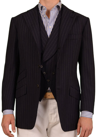 RUBINACCI LH Bespoke Navy Blue Striped Two Piece Jacket And Vest EU 50 NEW US 40 - SARTORIALE - 2