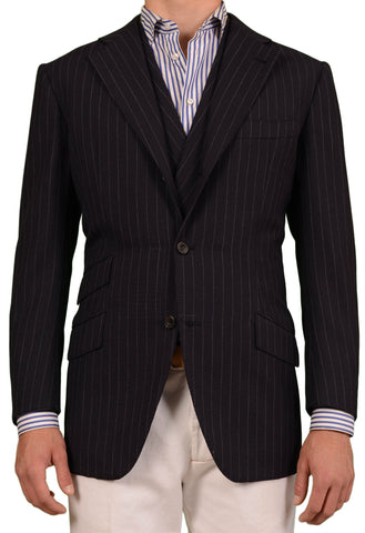 RUBINACCI LH Bespoke Navy Blue Striped Two Piece Jacket And Vest EU 50 NEW US 40 - SARTORIALE - 1