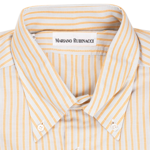RUBINACCI Napoli Yellow Striped Cotton Button-Down Dress Shirt NEW Size S Slim