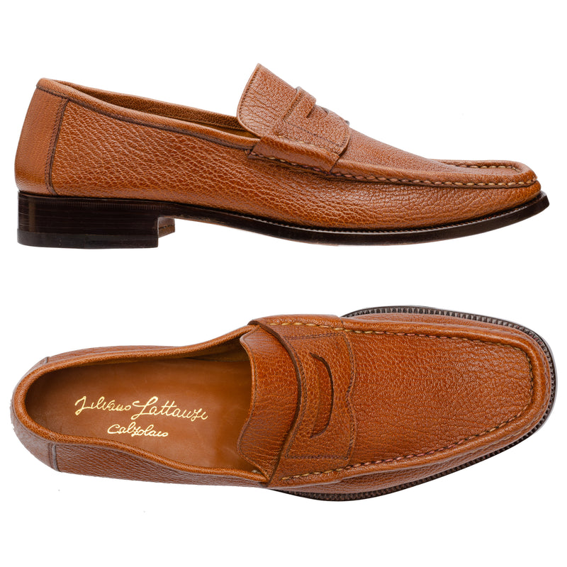 SILVANO LATTANZI Buffalo Grain Toe Penny Loafer Shoes NEW US 9.5