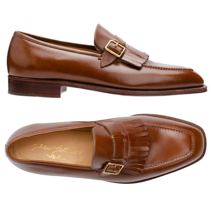 SILVANO LATTANZI Brown Monk Strap Kilties Loafer Shoes NEW US 8.5