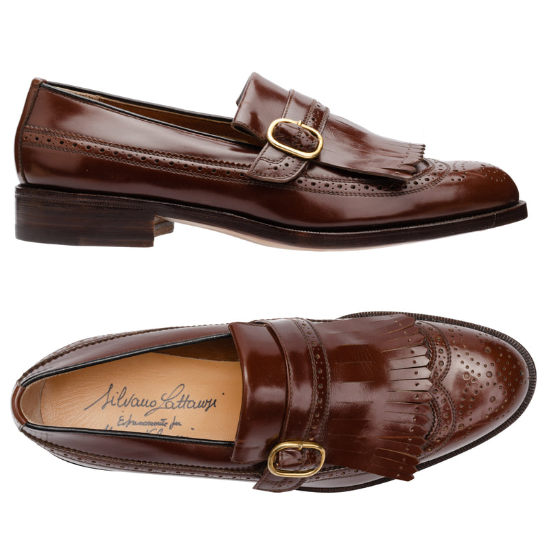 SILVANO LATTANZI Brown Wingtip Brogue Buckle Kilties Loafer Dress Shoes NEW 8