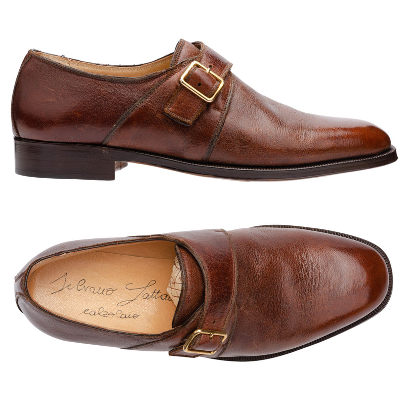 SILVANO LATTANZI Elk Hide Leather Single Monk Dress Shoes NEW US 8