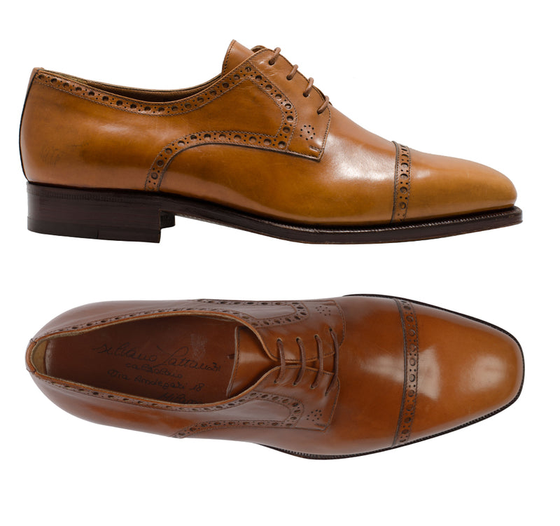"SILVANO LATTANZI ""FIBBIA"" Cognac Cap Toe Derby Classic Dress Shoes NEW US 7.5"