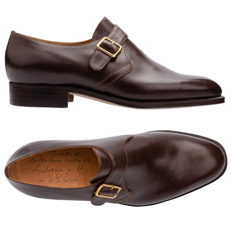 SILVANO LATTANZI Handmade Brown Leather Single Monk Dress Shoes NEW US 8