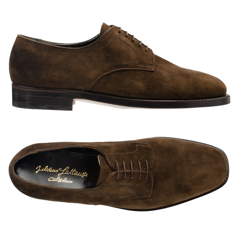 SILVANO LATTANZI Handmade Brown Suede Leather 5 Eyelet Derby Shoes NEW US 8.5