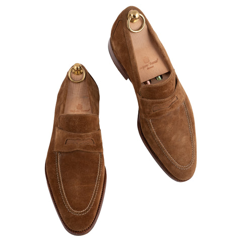 STEFANO BEMER Handmade Brown Leather Suede Penny Loafers with Trees US 6.5 39.5