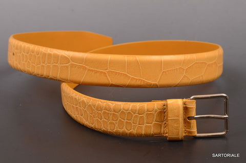 RUBINACCI Napoli Made In Italy Leather Yellow Crocodile Belt NEW - SARTORIALE - 1