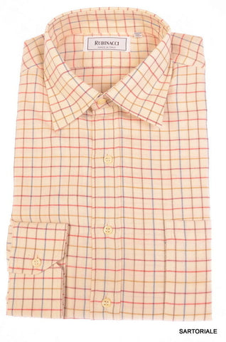 RUBINACCI Napoli Cream Plaid Cotton Casual Shirt US 15.75 NEW US 40 Classic Fit - SARTORIALE - 1
