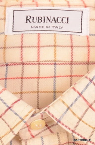 RUBINACCI Napoli Cream Plaid Cotton Casual Shirt US 15.75 NEW US 40 Classic Fit - SARTORIALE - 2