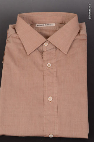RUBINACCI Napoli Solid Brown Cotton Dress Shirt EU 44 NEW US 17.5 Classic Fit - SARTORIALE - 1