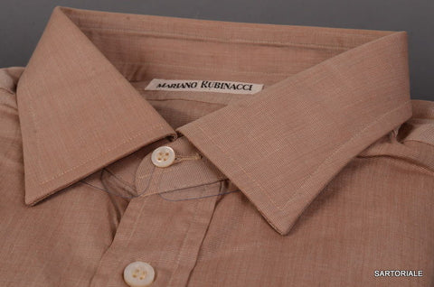 RUBINACCI Napoli Solid Brown Cotton Dress Shirt EU 44 NEW US 17.5 Classic Fit - SARTORIALE - 2