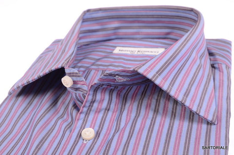 RUBINACCI Napoli Hand Made Blue Striped Cotton Dress Shirt NEW Regular Fit - SARTORIALE - 2