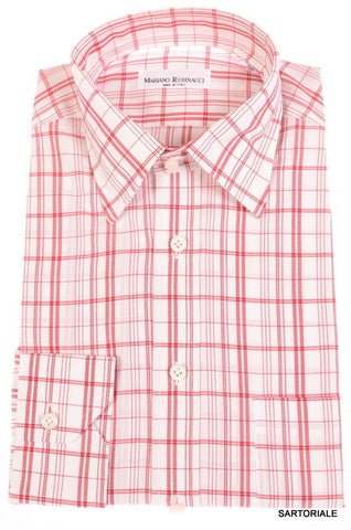 RUBINACCI Napoli Hand Made White Red Plaid Cotton Dress Shirt NEW Regular Fit - SARTORIALE - 1