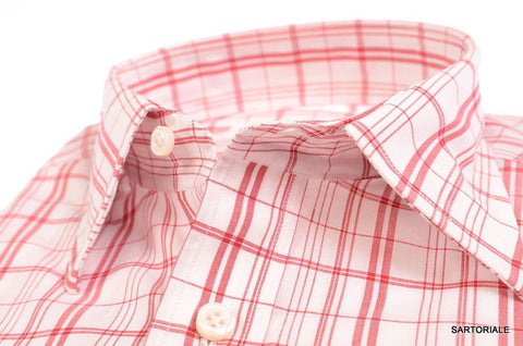 RUBINACCI Napoli Hand Made White Red Plaid Cotton Dress Shirt NEW Regular Fit - SARTORIALE - 2