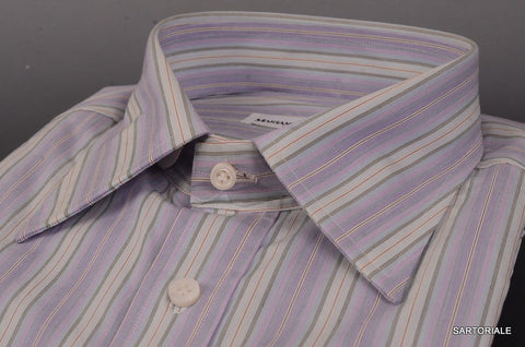 RUBINACCI Napoli Purple Striped Cotton French Cuff Dress Shirt NEW Classic Fit - SARTORIALE - 2