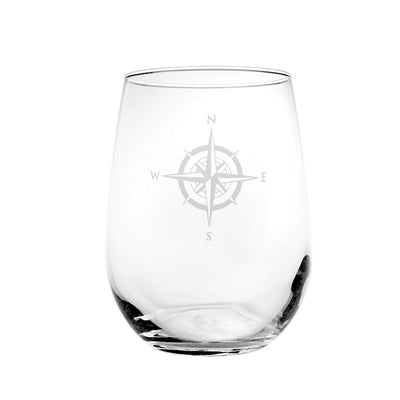 Compass Rose Stemless Wine Glass 17oz (Set of 4)