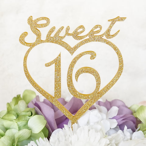 """Sweet 16"" with Heart Silhouette Sweet 16 Birthday Cake Topper Pick -Glitter Finish"
