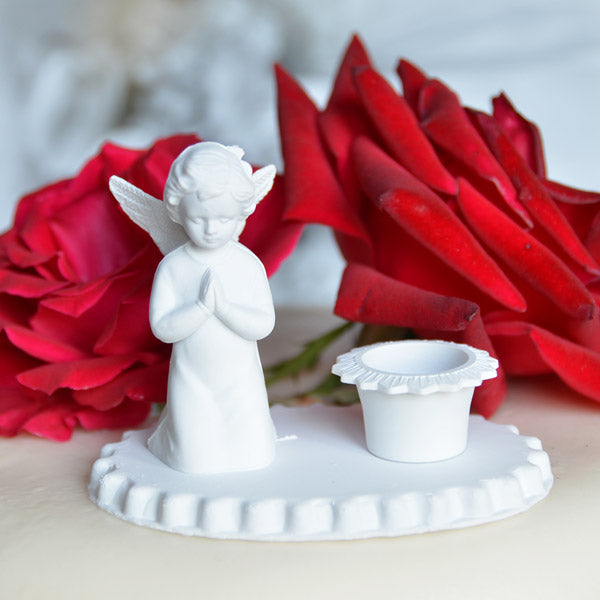 White Angel Candle Holder