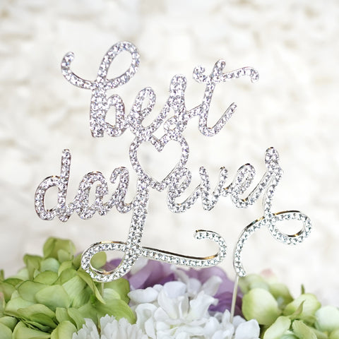 """Best Day Ever"" Wedding Monogram Rhinestone Cake Topper - Silhouette w/ Crystals"