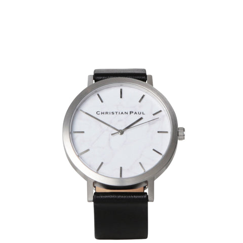 Christian Paul: Silver & Black Marble Watch - Luxe Gifts™  - 1