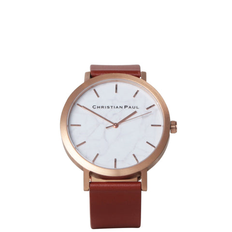 Christian Paul: Rose Gold & Walnut Marble Watch - Luxe Gifts™  - 1