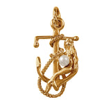 "15574p - 1"" Fouled Anchor with Mermaid and Pearl Pendant"