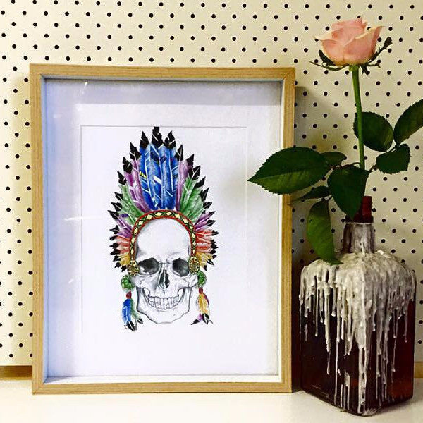 Indian chief feather crown skull print - Six Things - 1