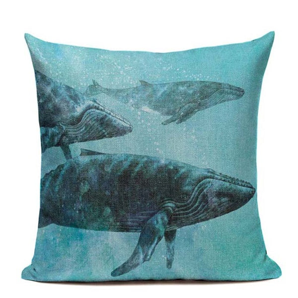 Whale migration deep sea cushion cover