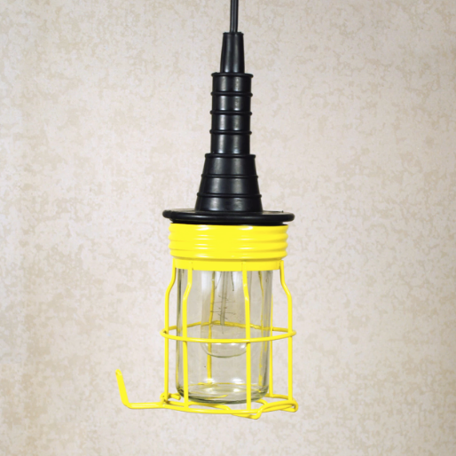 Yellow miners cage lamp - plug in