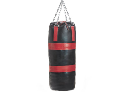 MVP Boxing - Executive Leather Heavy Punching Bag, Red Trim (un-filled)