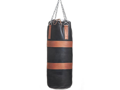MVP Boxing - Executive Leather Heavy Punching Bag, Tan Trim (un-filled)