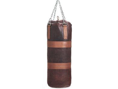 MVP Boxing - Heritage Leather Heavy Punching Bag, Tan Trim (un-filled)