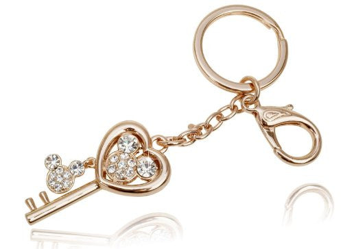 Swarovski Charms Costume Jewelry Key Ring and Bag Charm, Gold Charms Key ring. Hearts Keyring as a Key with Swarovski Crystals Mickey; 14K Rose Gold plating Exclusive limited edition to Janoejewels, charms jewellery. Great Anniversary Charms Jewelry gift