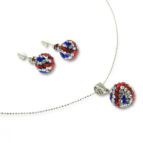 Beautiful Crystal Necklace and Earrings Jewellery Set. Multi Colour, Red, White and Blue Colours. Embedded Czech Quality Crystals Give a Radiant Glow. Great Gift or Present for Friends and Family.