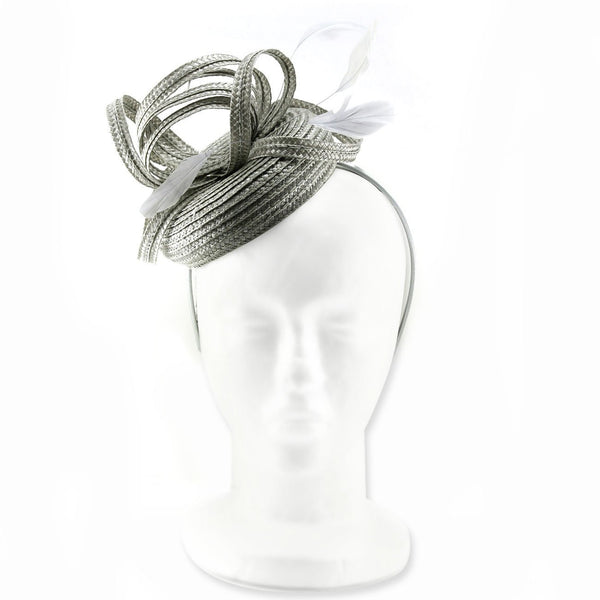 Stylishly Dainty and Slick Raffia Hat Fascinator for Weddings, a Party or the Races, with raffia swirls and light feathers.