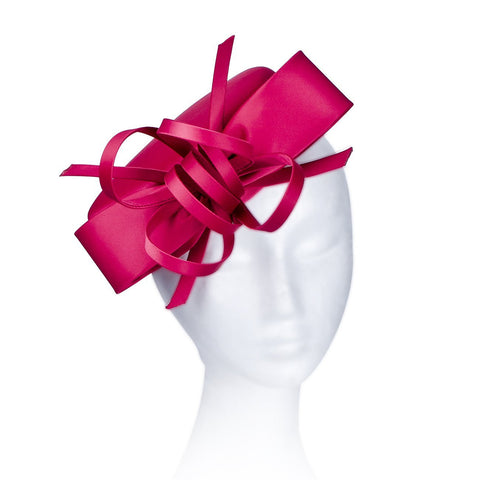 Janeo Kate Pillbox Fascinator Hat Headwear. Classic, Crisp and Clean Shape with Bows. Pearlised Satin Pill Box in Five Versatile Colours: Duck Egg Blue, Off-White, Classic Red, Dusky Pink and Champagne