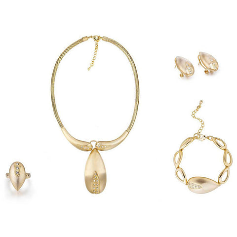 4 Pieces Cart Style Designer Cocktail Jewelry Set, Costume Jewellery w/ Swarovski Crystals Elements, Brushed Gold Detail Stunning Pendant Necklace, Bracelet, Earrings and Ring Set. Great Value for 4 pieces in one! Great Gift or Bridal.