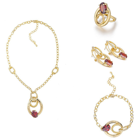 4 Pieces Stylish Luxury Jewellery, The L'Amour Love Set 14K Gold Setting w/ Solid Czech Gems and Swarovski Elements Crystals. French Parisian Style Fashion Necklace, Earrings, Bracelet and Ring Set. Contemporary Modern Style.
