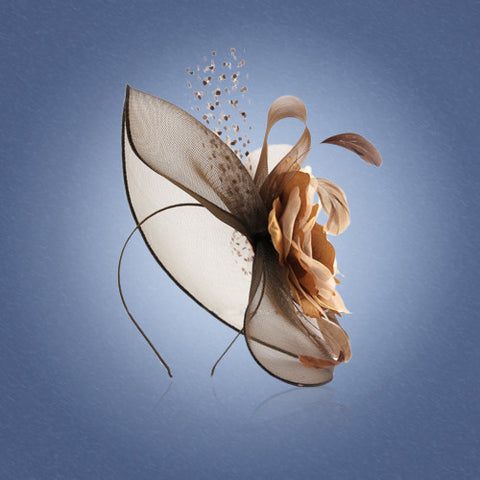 'Highgrove' Womens Hat Fascinator. Wide Rim, Bows & Feathers, With Mini Corsage & Swarovski Brooch