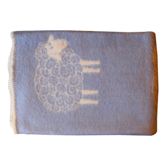 Organic Wool Baby Blanket - Soft Blue with Sheep - PasParTou