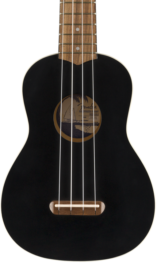 Fender Venice Soprano Ukulele Satin Black Finish Uke