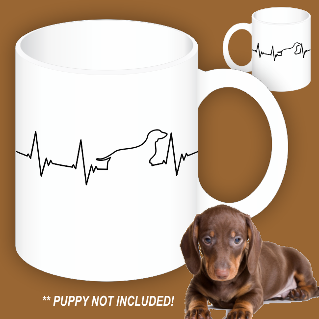 Love My Dachshund Heartbeat Mugs