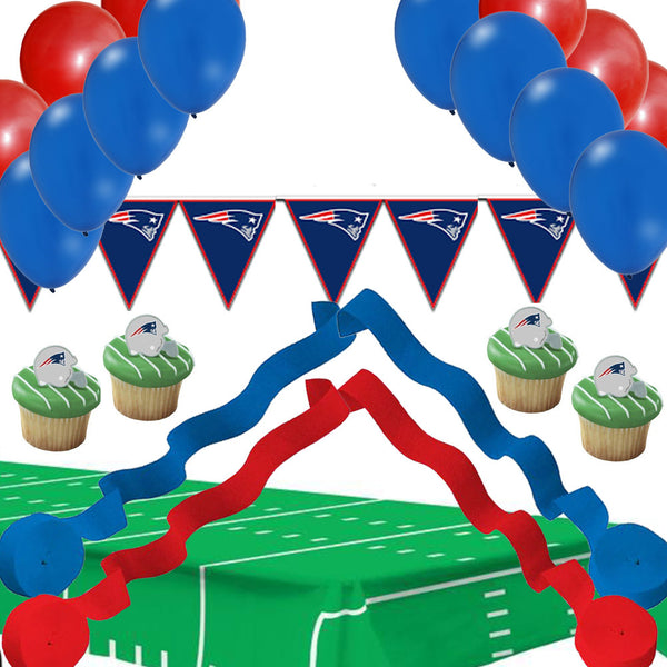 Super Bowl Set - New England Patriots: Banner Streamers Balloons Rings Tablecover