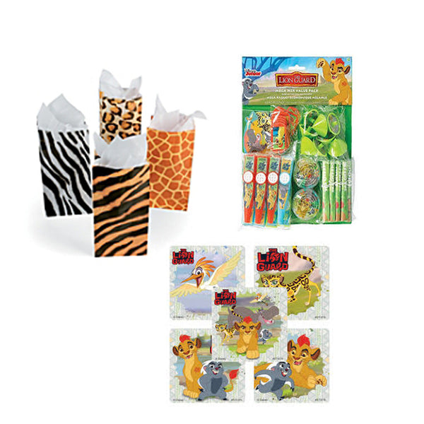 Lion Guard Favor Sets - 12 Bags & Sticker Seals & 48 Toy Favors