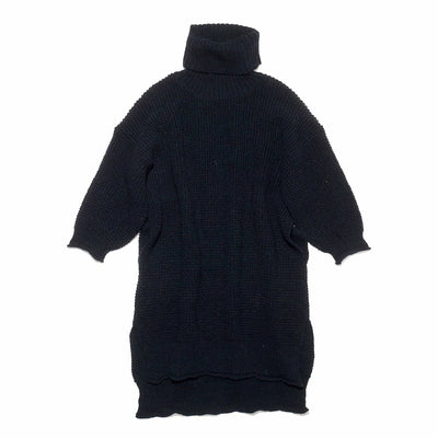 Womens 5G Wool Waffle Turtle Neck BIG Dress in Navy