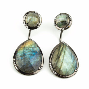 Labradorite Duo Drop Earrings