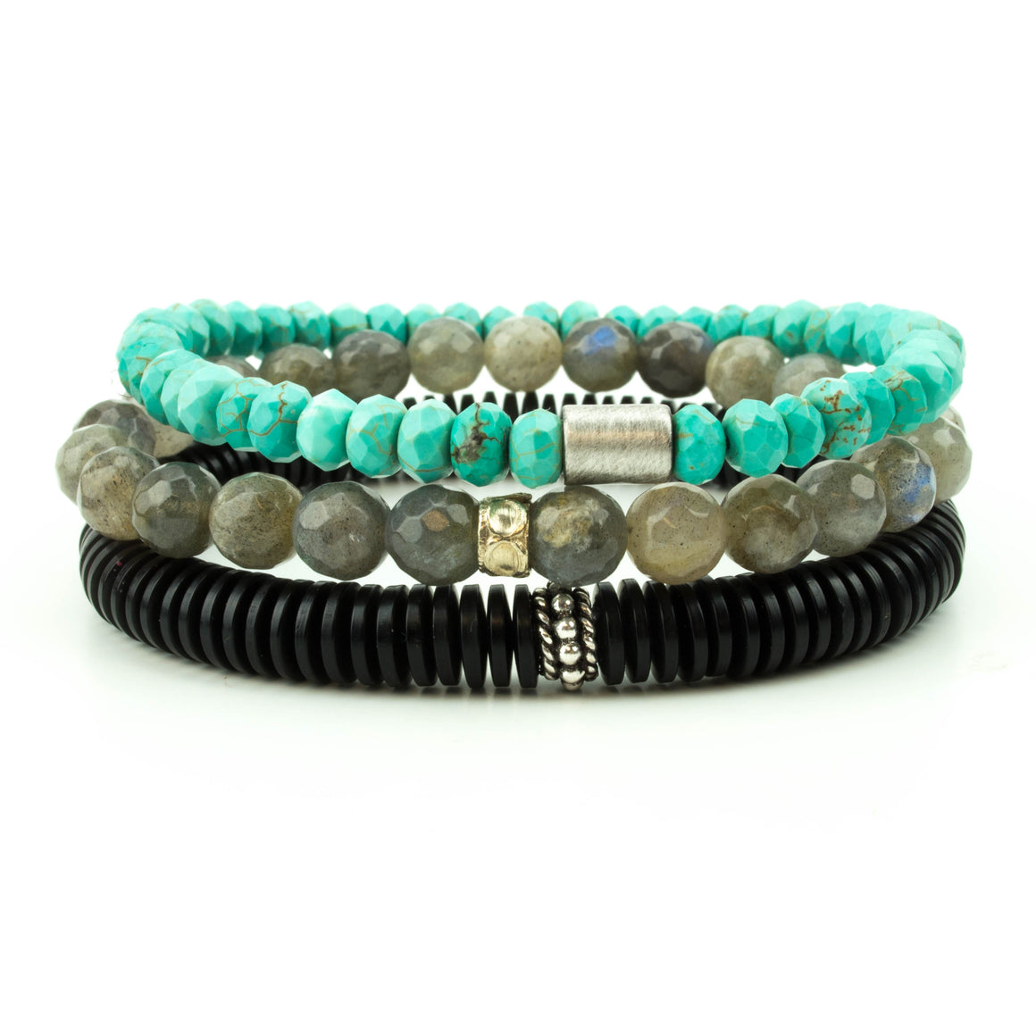 men's stretch beaded bracelet stack with turquoise, labradorite and black amber disks