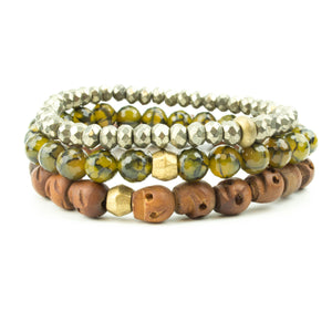 men's stretch beaded bracelet stack with woos skulls, pyrite and dragon's vein agate